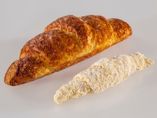 Dairy butter cheese croissant with cheese decoration