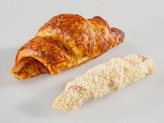 Dairy butter ham/cheese croissants *slice ham* with cheese decoration